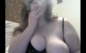 Huge DDD Tits Wife Smokes On Cam And Play With Huges Tits &amp_ Nipples
