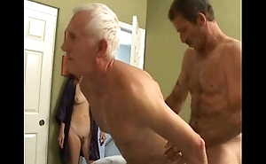 Grandpa'_s bisexual fun with younger couple
