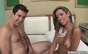 Shemale maid in hotel room morning surprise