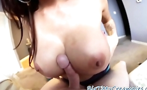 Busty babe jiggles her boobs after titfuck