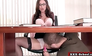 Teacher and schoolgirl showing their big tits in classroom 23