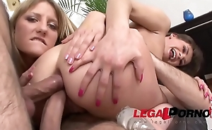 Savage whores Betty &amp_ Xenia in double anal foursome fuckfest
