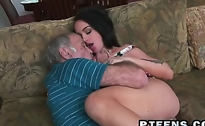 A slutty young brunette prostitute takes care of a horny grandpa'_s dick