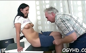 Charming young angel fucked by old guy