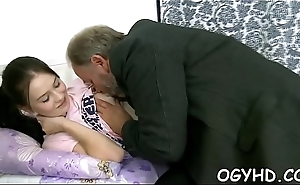 Sweet young gal licked by pold dude