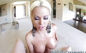 Curvy milf tittyfucks and sucks fat cock