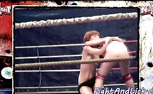 Redhead lesbian wrestling and kissing