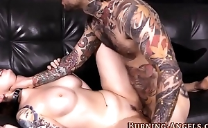 Tattooed whore gets cum