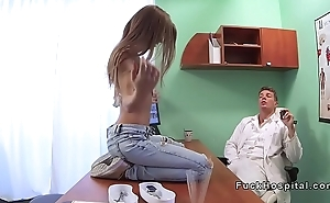 Slim brunette patient rides doctors dick