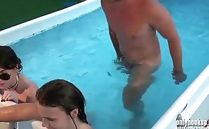 Pool orgy on floating mat! loud fucking sounds and moans!