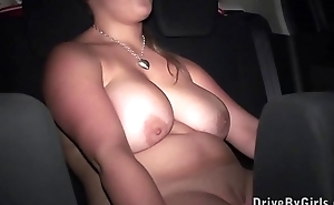 Big boobs model Krystal Swift is getting undressed in a car on the way to orgy