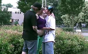 Street sex with Alexis Crystal and 2 teen guys fucking orgy in broad daylight