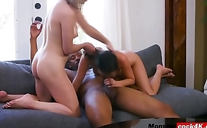 Pretty hot babes spitting blowjob on BBC