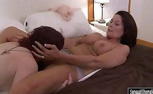 Redhead shemale Chelsea Poe oral sex with busty mature