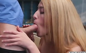 Alexa Raye got down on her knees to blow