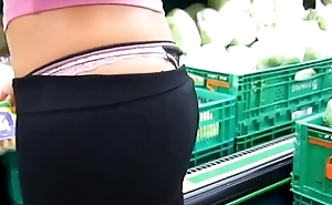 college girl with thong showing in grocery shop more at collegethongs.com