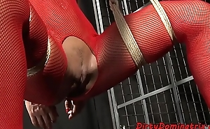 Stunning lezdom toys restrained babes pussy