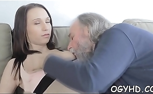 Steaming juvenile chick fucks old guy