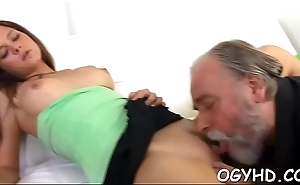 Old guy seduces juvenile babe
