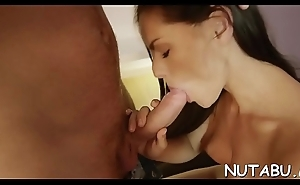 Sexy solo gal touches pussy