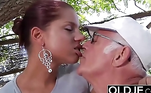 Young Girlfriend caught fucked by old man she sucks his dick and swallows cum