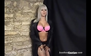 Horny blonde fingers pussy in leather
