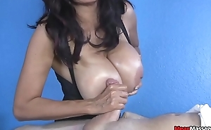 Lucky customer gets HUGE tittied massage
