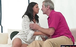 Teen Coco De Mal sucks off grandpas cock and is pussy eaten