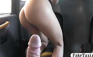 Super hot babe with big tits gets fucked by the driver