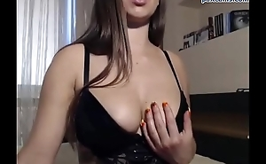 Pretty brunette from Poland shows her big boobs on webcam paxcams.com